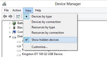 Figure 1 - show hidden devices option