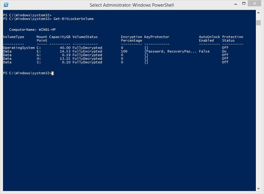 Get-BitLockerVolume PowerShell cmdlet