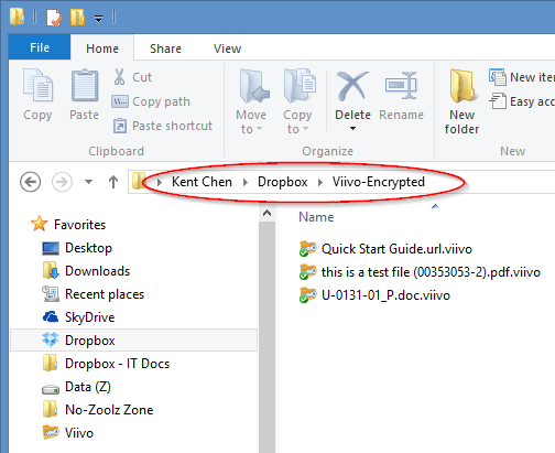 Figure 2 - the encrypted Viivo folder in Dropbox