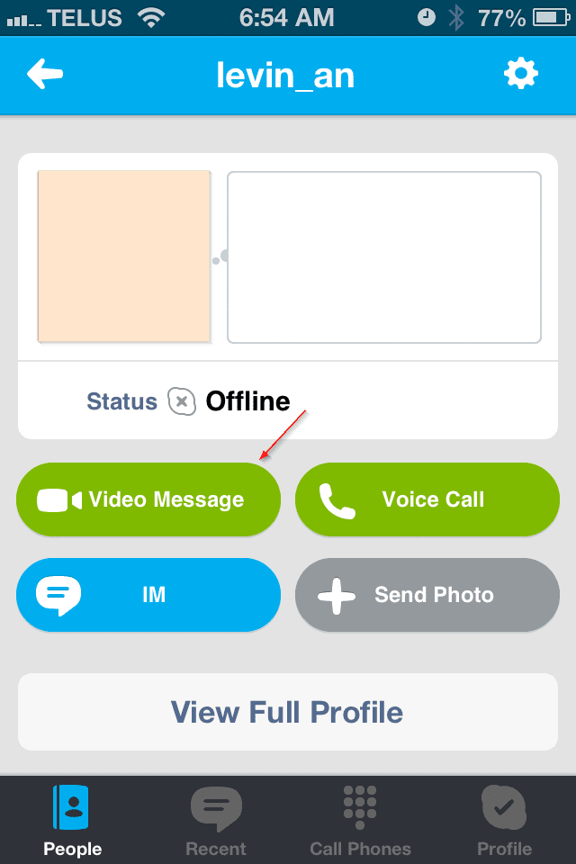 Skype Video Message on iPhone
