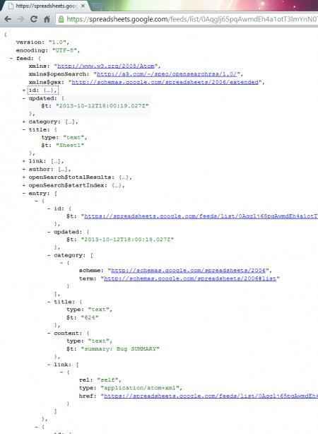 Google Spreadsheet JSON Result