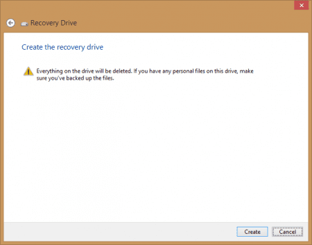 Recovery Drive - Step 3 - click Create button to start