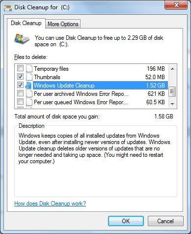 Windows Update Cleanup on Windows 7