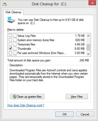 No Windows Update Cleanup option on Windows 8