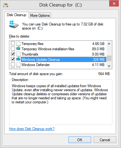 Disk Cleanup - windows update cleanup option on Windows 8