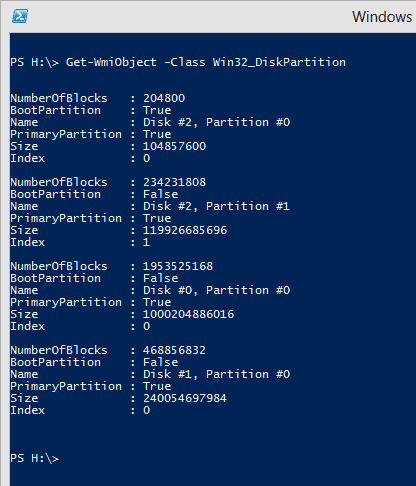 PowerShell - Get-WmiObject Win32-DiskPartition