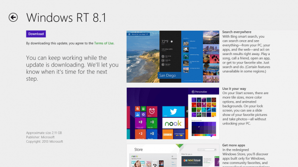 Windows RT 8.1 Update on Windows Store