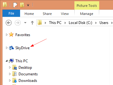SkyDrive icon in Domain Account