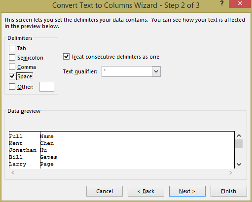 Excel - convert text to columns wizard step 2