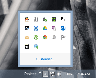 Icons hidden in system tray