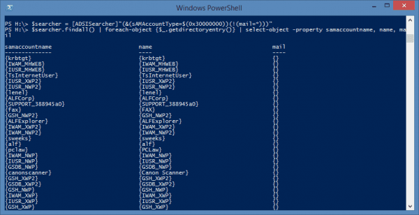 PowerShell - AD user with no email