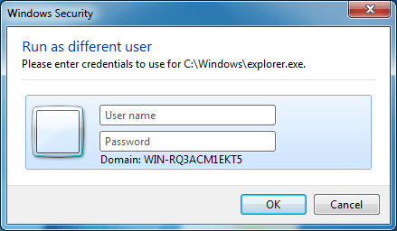 Run as different user dialog box in Windows 7