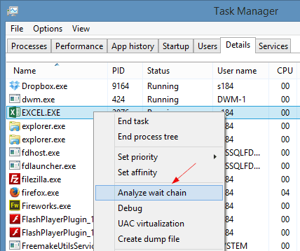 Task Manager - Details tab Analyze wait chain