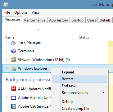 Task Manager - restart Windows Explorer