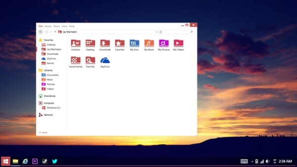 Windows 8.2 - desktop w/ file explorer