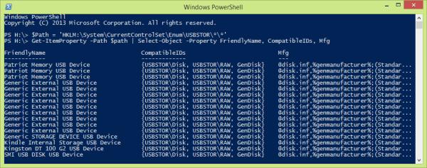 PowerShell - list usb drives