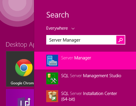 Server Manager from Start Screen