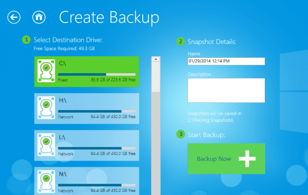 RecImg Manager - create backup