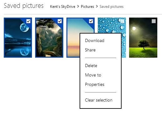 SkyDrive - mulitple selection