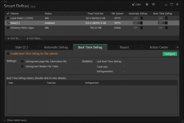 Smart Defrag 3 - boot time defrag