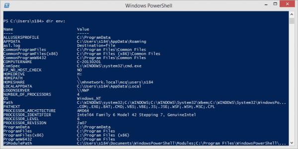 Windows PowerShell - dir env to list all environment variables