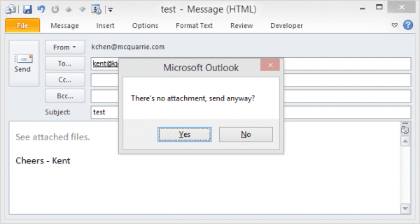Outlook - attachment reminder
