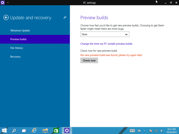 Windows 10 Preview Build Time