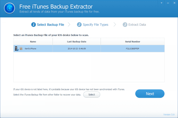 Jihosoft iTunes Backup Extractor - step 1