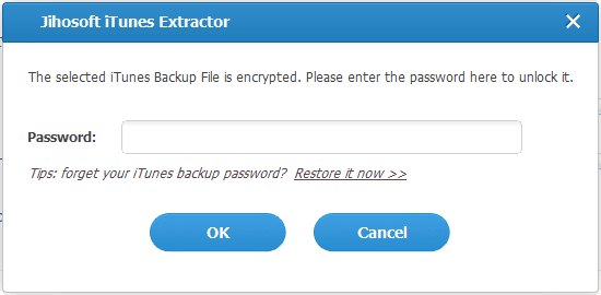 Jihosoft iTunes Backup Extractor - step 1 - password