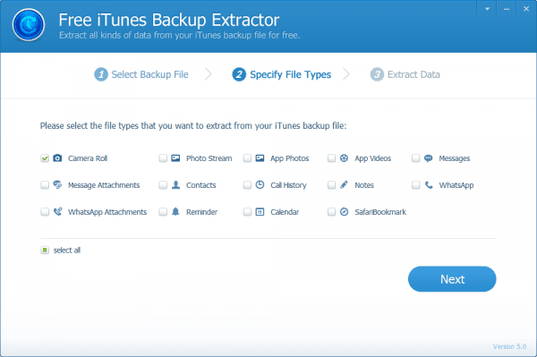 Jihosoft iTunes Backup Extractor - step 2