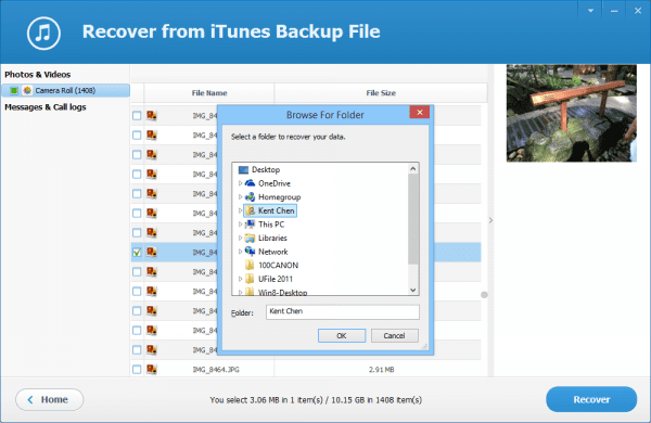 Jihosoft iTunes Backup Extractor - step 3