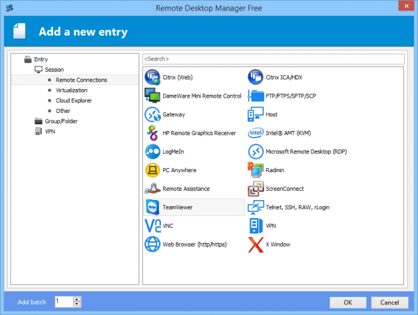 Remote Desktop Manager - add a new remote connection entry