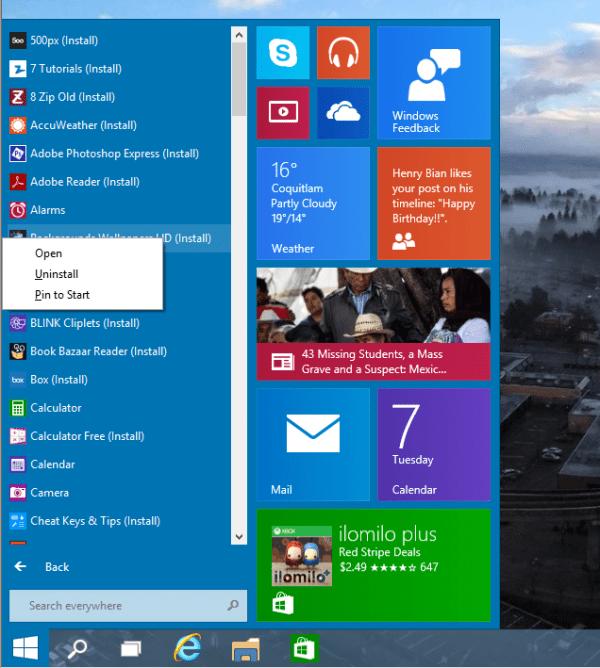 Windows 10 - Start Menu - All Appspng