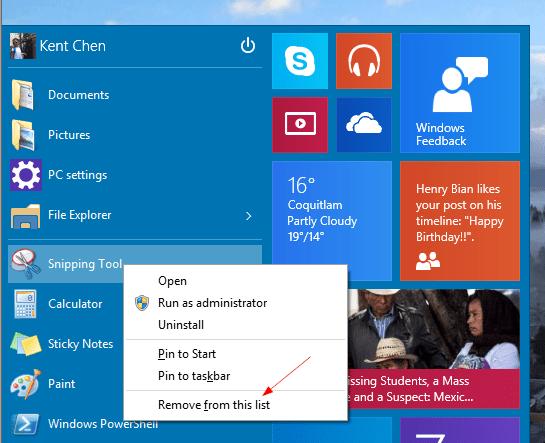 Windows 10 - Start Menu - Remove MRU item
