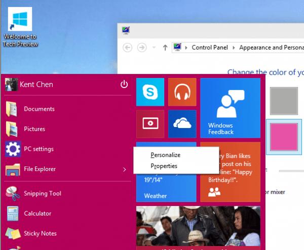 Windows 10 - Start Menu - color