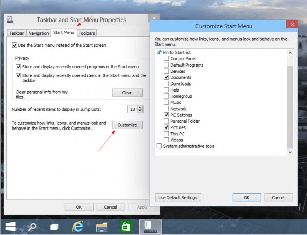 Windows 10 - Taskbar Properties