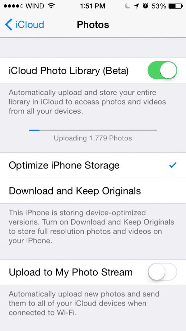 iCloud Photo Library Beta