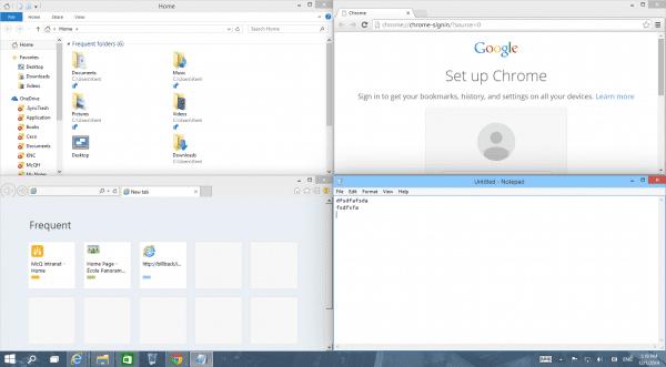 Windows 10 - 4 corners