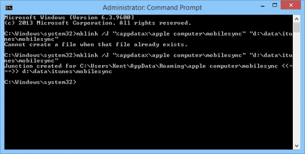 command prompt - mklink mobilesync