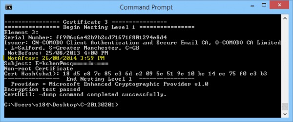 Command Prompt - CertUtil