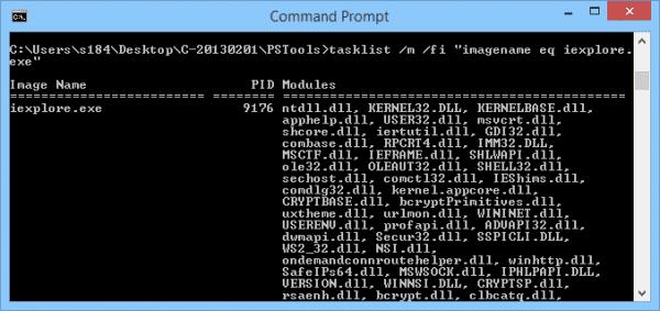 Command Prompt - tasklist