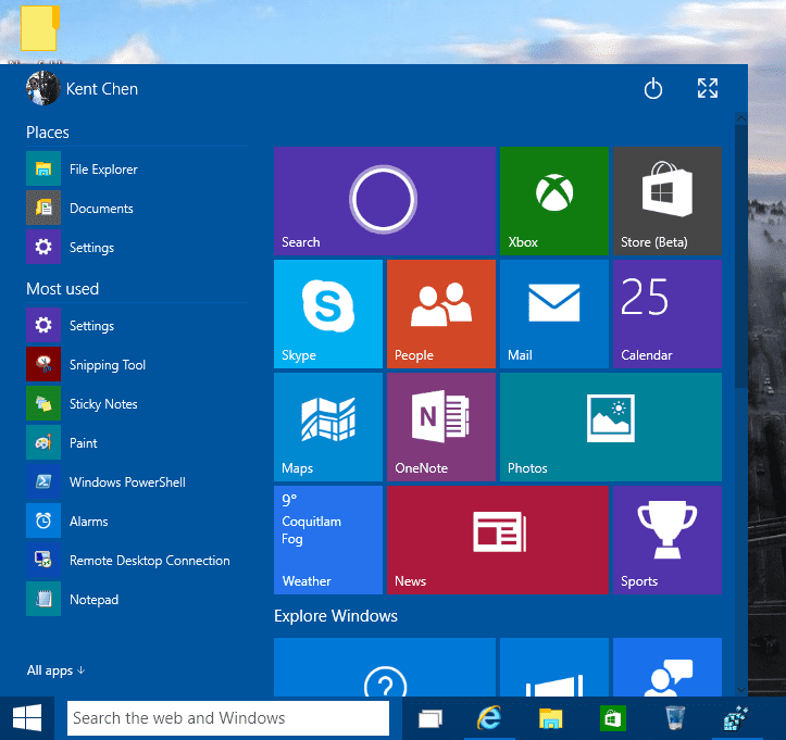 Enable resizable start menu in windows 10 build 9926 next of windows
