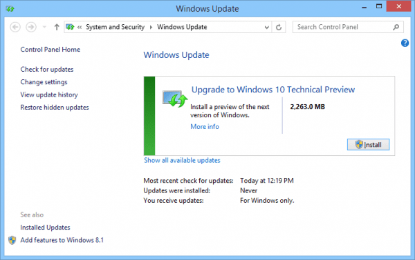 Windows 10 TP - Windows Update