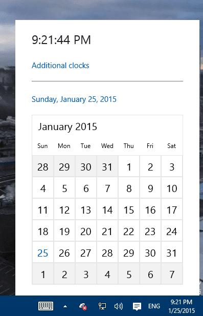 Windows 10 TP - clock and calendar