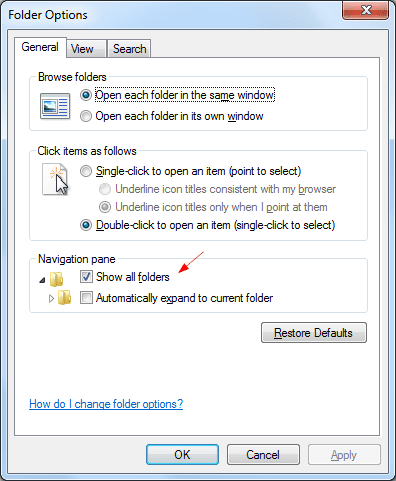 Folder Option to show disc drive