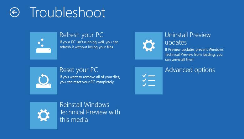Windows 10 Advanced Options Troubleshoot Next of Windows