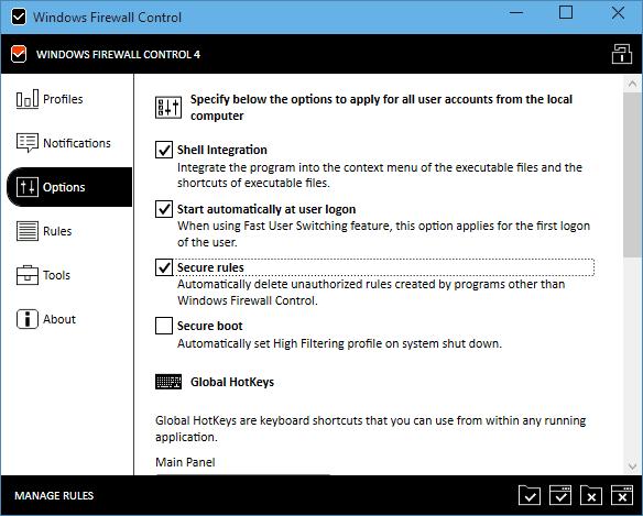 Windows Firewall Control - options