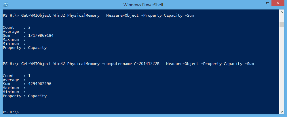 PowerShell - total ram installed