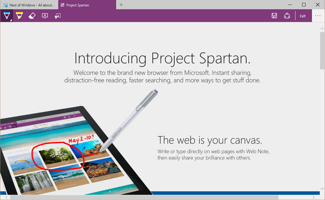 Project Spartan - Web note