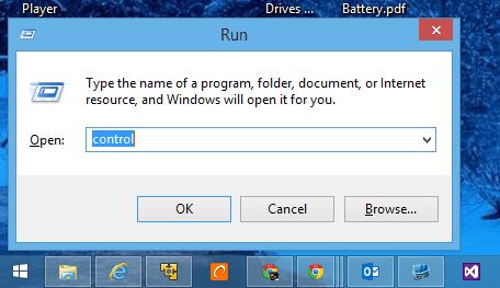 Run menu to open Control Panel